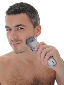 Free Young Handsome Male Shaving Face Beard . Isolated Royalty Free Stock Photography - 18703877