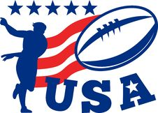 Free American Rugby Player USA Ball Royalty Free Stock Photos - 18704198