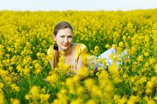Free Woman On Yellow Field Stock Photography - 18704752