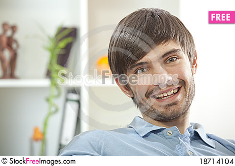 Free Cheerful Man At Home Stock Images - 18714104