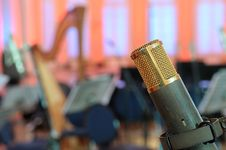 Free Microphone In A Concert Hall. Royalty Free Stock Photo - 18710325