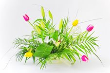 Bouquet With Lily & Tulips Royalty Free Stock Photo