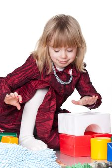Child Playing With Blocks Stock Image