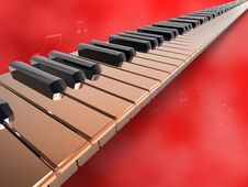 Free Long Keyboard Piano On Red Background.jpg Stock Photos - 18712423