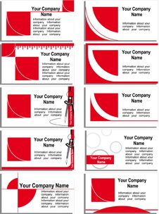Free Business Card With A Red Graphic Elements Royalty Free Stock Images - 18713049