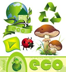 Ecology Set With Design Elements Royalty Free Stock Photography