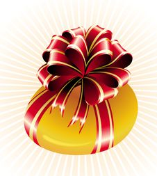 Free Easter Gold Egg With Bow Stock Photos - 18713383