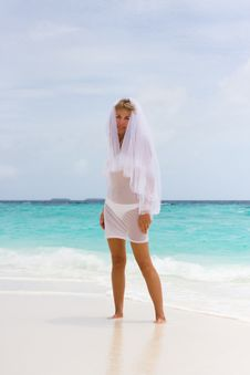 Free Bride On A Tropical Beach Stock Photos - 18714813
