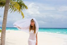 Free Bride On A Tropical Beach Royalty Free Stock Photo - 18714835