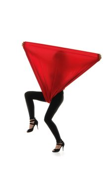 Free Woman In Black Tights With A Red Cloth Royalty Free Stock Photos - 18716198