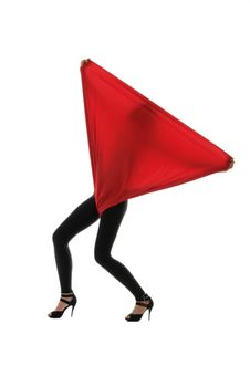 Free Woman In Black Tights With A Red Cloth Stock Photo - 18716290
