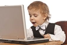 Free Little Child And Laptop Royalty Free Stock Image - 18716986