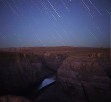Free Starstreaks Over Horseshoe Bend Royalty Free Stock Image - 18717546