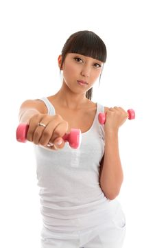 Fitness Girl With Hand Weights Stock Photo