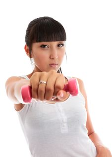 Free Young Woman Using Hand Weights Royalty Free Stock Photography - 18718287