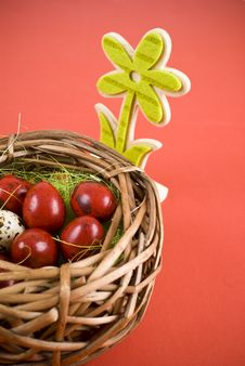 Free Easter Eggs In Wicker Basket Royalty Free Stock Photos - 18718708