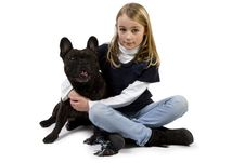 Free French Bulldog And Little Girl Playing Stock Photo - 18718960
