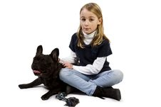 Free French Bulldog And Little Girl Playing Stock Image - 18718991