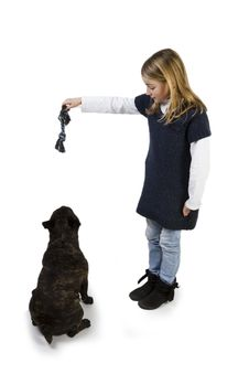 Free French Bulldog And Little Girl Playing Royalty Free Stock Images - 18719029