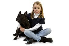 Free French Bulldog And Little Girl Playing Stock Images - 18719044