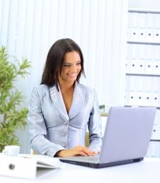 Free Young Businesswoman Working On Laptop Stock Image - 18719491
