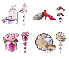 Woman Stuff Icons Stock Image