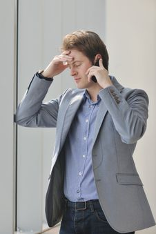 Free Young Business Man Talk By Cellphone Stock Image - 18720541