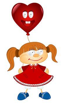 Free Valentine Love Heart Girl Balloon Stock Photography - 18721102