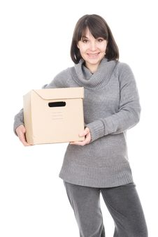 Free Woman With Cardbox Stock Images - 18721464