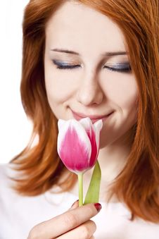 Free Beautiful Red-haired Girl With Tulips. Stock Photo - 18722880