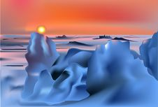 Free Sunset In Snow Desert Illustration Royalty Free Stock Photos - 18722978