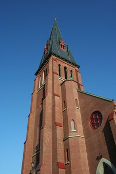 Free Tall Church Steeple Against Blue Sky Stock Images - 18724244