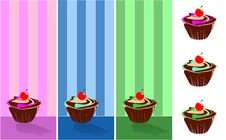 Free September Muffin Decorated With Wallpaper Wallpape Stock Images - 18724734