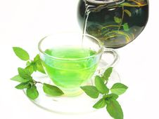 Free Green Herbal Tea With Fresh Mint Royalty Free Stock Images - 18724919