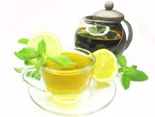 Fruit Herbal Tea With Lemon And Mint Royalty Free Stock Photo