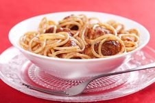 Free Pasta With Meatballs Royalty Free Stock Photography - 18725907