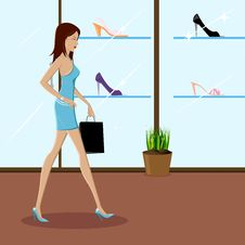 Fashionable Lady Shopping Stock Images