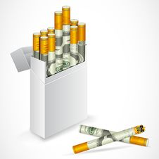 Dollar Cigarette Box Royalty Free Stock Images