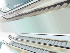Free Many Escalators Indoor, View From Above Stock Photo - 18726350