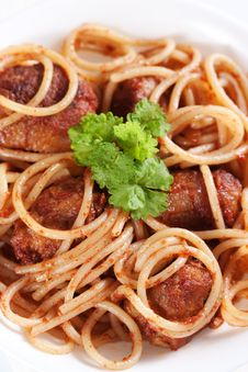 Free Pasta With Meatballs Royalty Free Stock Photography - 18726987