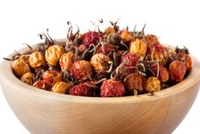 Free Dried Rosehips In Wooden Bowl Royalty Free Stock Photos - 18727088