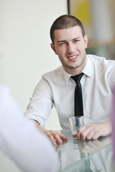 Free Young Business Man Alone In Conference Room Royalty Free Stock Photos - 18727118
