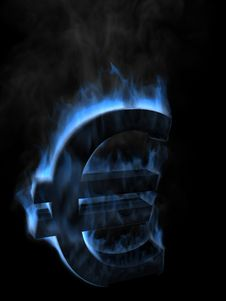 Money Euro Symbol In Fire Stock Image
