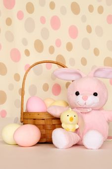 Easter Bunny And Chick With Basket Of Eggs Royalty Free Stock Photography