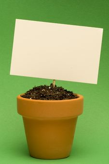 Free Blank Sign In Little Flower Pot Stock Photography - 18728652