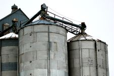 Grain Bins In Winter Royalty Free Stock Photo