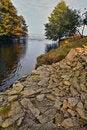 Free Stony River Bank, Estuary In The Sea. Royalty Free Stock Photo - 18734075