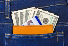 Money And Credit Card In Jeans Pocket Stock Image
