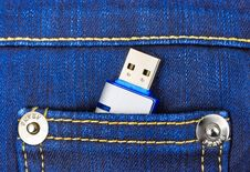 Flash Memory In Jeans Pocket Stock Images