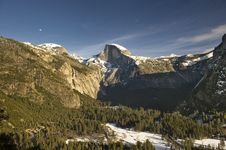 Snow Covered Half Dome In Winter Royalty Free Stock Image